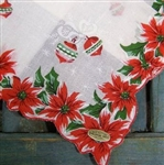 Excellent Vintage Christmas Handkerchief Shiny Brite Ornaments Poinsettia Tags