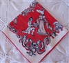 My Love is Like a Red Red Rose Vintage Handkerchief Perfect Valentine Hankie