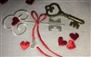 Embroidered Vintage Valentine Hankie Hearts & Key + Bonus Bronze Key