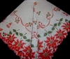 Vintage Handkerchief Christmas Poinsettia Bells Bows & Berries Scalloped