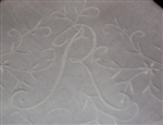 R Monogrammed Hankie Fancy All WHITE for Brides ~ Scrolls