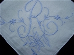 R Monogrammed Handkerchief Perfect Something Blue for Bride