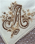 A Monogrammed Vintage Madeira Handkerchief Gorgeous Coffee & Cream Colors