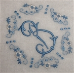 B Monogrammed Vintage Madeira Hankie Delicate Blue for Bride Cameo Embroidery