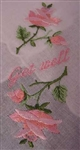 GET WELL Pretty Pink Shaded Roses Handkerchief Hankie