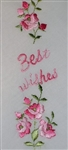 Best Wishes Handkerchief Pink Roses Embroidery Nice!