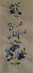Best Wishes Handkerchie BLUE Roses Embroidery Charming