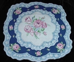 A Most Unique Shaped Handkerchief Hankie Blues PINK Roses Faux Ruffle