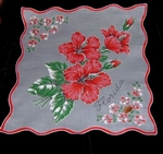 Florida Pristine Unused Vintage Handkerchief Red Hibiscus ~Sherry Miami Tag