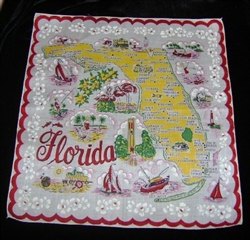 Florida State Map Souvenir Handkerchief Pristine Great Graphics RED Yellow