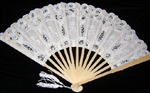 WHITE Lace Hand Fan Embroidered Fabric Inserts PRETTY Brides