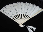 Ivory Lace Hand Fan Embroidered Fabric Inserts PRETTY Brides