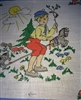 Vintage French Childs Hankie Handkerchief Little Boy Stick Horse Kitty