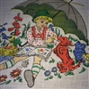 Vintage French Childs Hankie Handkerchief Swiss Boy Dog Birds Sunshine