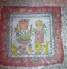 Vintage Handkerchief Hanky Boy Girl Bunnies & Chicks Signed Masha Pink