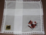 So Sweet Embroidered Hankie CUTE Kitty Cat w/ Lace Trim for Little Girl