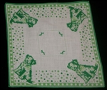 Darling Vintage Childrens Handkerchief Green Polka Dot Puppies 1950's