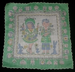 Vintage Handkerchief Hanky Boy Girl Bunnies & Chicks Signed Masha Green