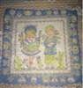Vintage Handkerchief Hanky Boy Girl Bunnies & Chicks Signed Masha Blue