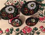 4 Diminutive Heidi Buttons Black Oval Swiss Look Flowers 2 Small 2 Tiny