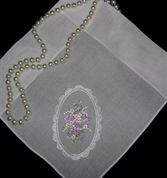 Hankie Handkerchief Cameo Framed Dainty Purple Flowers Sweet
