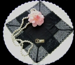 "Black Lace Handkerchief  2"" Wide Torchon Lace Border"