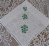 Bouquets of IRISH SHAMROCKS Lace Trimmed Hankie Handkerchief