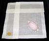 PINK  Rose Cameo Framed by Daisies & Scrolls Pristine Hankie