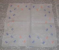 Cutest Pink & Blue Embroidered BUTTERFLIES Hankie Hanky