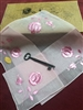 Swiss Made Vintage Handkerchief Pink Embroidered Roses on Pink