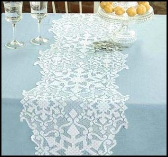 snowflake table decorations.htm glistening white snowflakes lace table runner 14 x 40 shimmer  lace table runner 14 x 40 shimmer