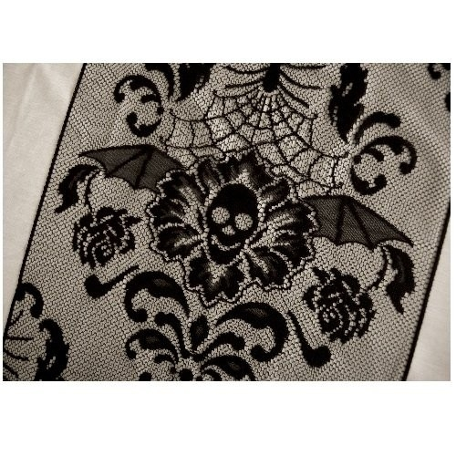 Halloween Black Damask Lace Table Runner Skulls BATS Spiders 68 long