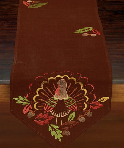 Gorgeous Brown Table Runner Embroidered Turkey 14 X 70 Thanksgiving Table