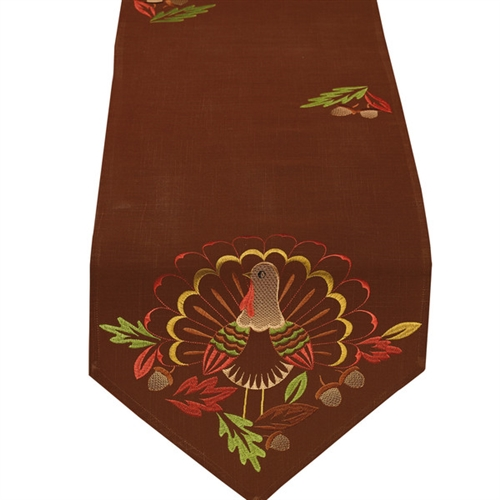 Delicieux Gorgeous Brown Table Runner Embroidered Turkey 14 X 70 Thanksgiving Table