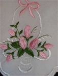 For My Flower Girl Pink Rose Basket Hankie Handkerchief