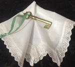 Simple Old Fashioned Eyelet Lace Trim Brides Hankie Farm Barn Wedding
