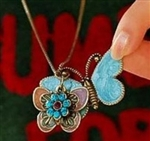 Enchanting Butterfly Necklace 2 Enamel Butterflies Crystal Flower Fun Piece