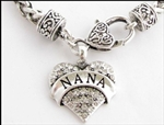 Nana Necklace Rhinestone Hearts Designer Style Lobster Claw Clasp
