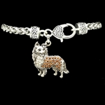 CUTE Sheltie or Collie Rhinestone Silver Plate Bracelet  Lobster Claw Clasp