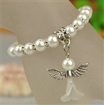 Pearl & Silver Bracelet Angel for Flower Girl or Communion Sweet