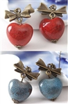 Lava Look Stone Heart & Bow Earrings Brick Red or Blue Denim CUTE!