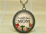 For Mom - Worlds Best Mom Necklace Glass Dome Roses Bronze Free Ship
