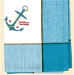 Anchor Beautiful Blue Stripe Retro Kitchen Towels Set / 2 Nautical