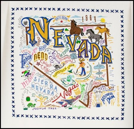 NEVADA State Map Souvenir Kitchen Towel Many Colorful Graphics - Nevada state map