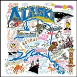 ALASKA State Map Souvenir Kitchen Towel many Colorful Graphics