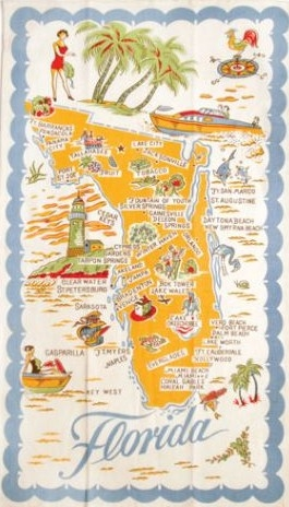 Flordia State Map.Florida State Map Souvenir Kitchen Towel Vintage Reproduction