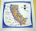 California Souvenir Map Kitchen Towel Primary Colors RETRO