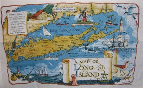 Fabulous Long Island New York Souvenir Map Linen Towel Cool