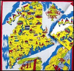 MAINE State Map Souvenir Kitchen Towel Colorful S Style - Main state map