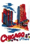 CHICAGO Illinois Souvenir Kitchen Towel State Street Scene Primary Colors
